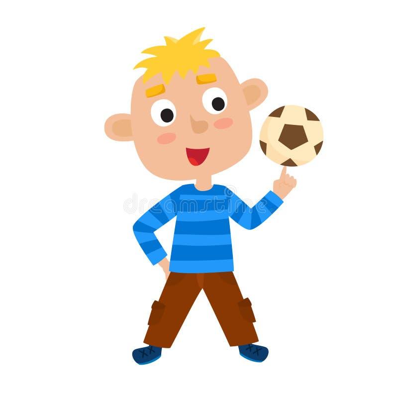 Vektorillustration av pysen som spelar fotboll i tecknad filmstil royaltyfri illustrationer