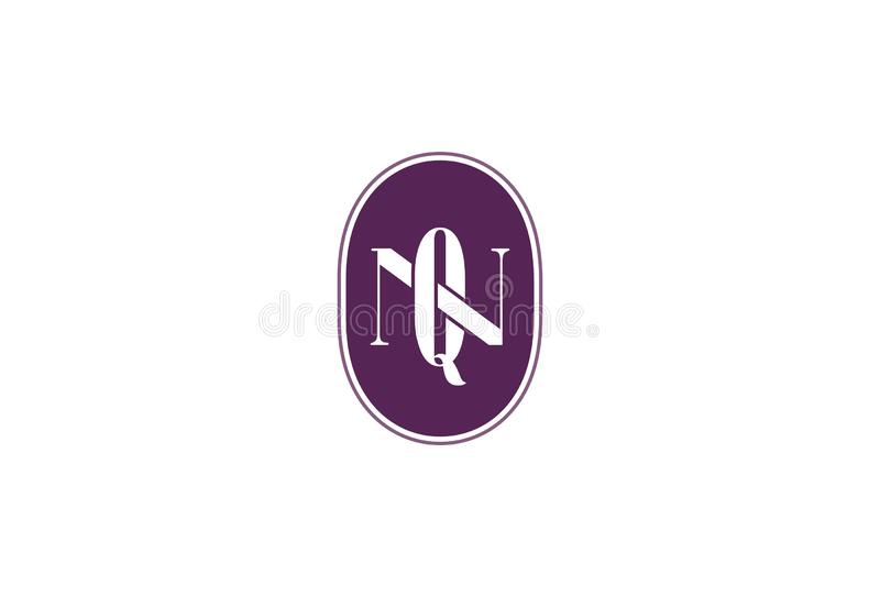 Vektorillustration av Q N Logo Design stock illustrationer