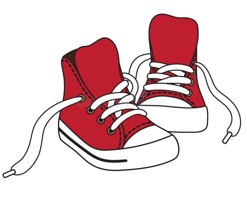 Vektorillustration av röda gymnastikskor stock illustrationer
