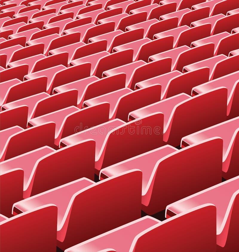 Vektorillustration av röda platser i en fotbollstadion stock illustrationer