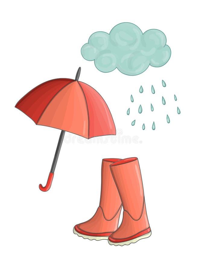 Vektorillustration av regn som häller från moln royaltyfri illustrationer