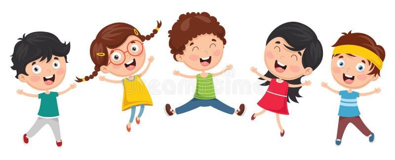 Vektorillustration av roliga ungar som utanför spelar royaltyfri illustrationer