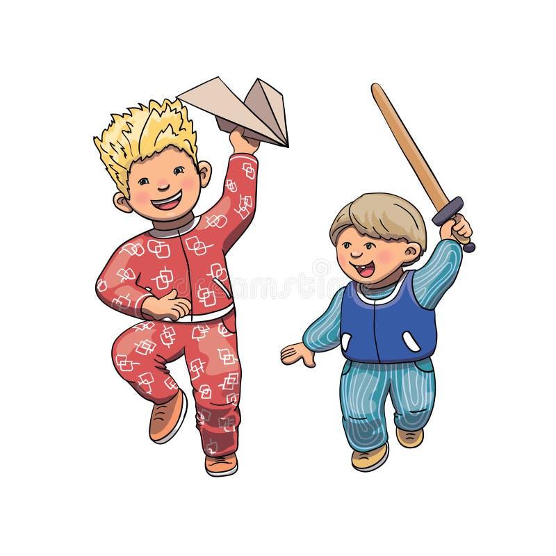 Vektorillustration av roliga ungar som utanför spelar, kör och hoppar Brodertecknad filmtecken stock illustrationer