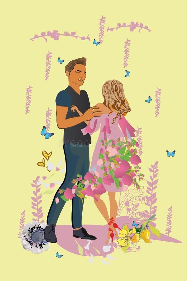 Vektorillustration av romantiska par som ?r f?r?lskade med blommor royaltyfri illustrationer