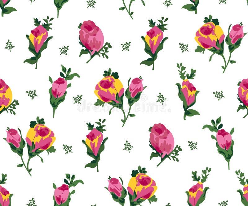 Vektorillustration av rosa och gula rosor stock illustrationer