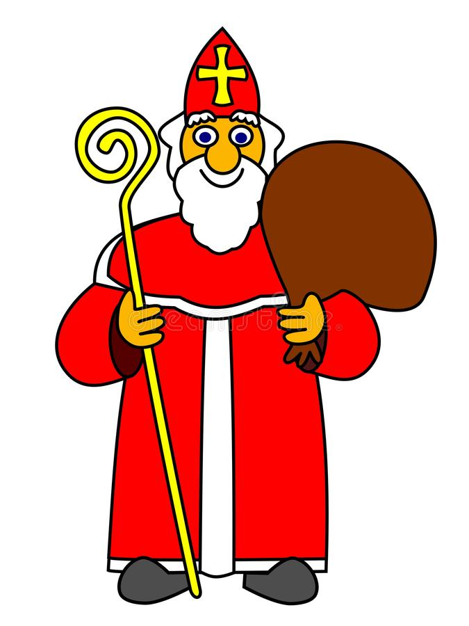Vektorillustration av Saint Nicolas, symbol av traditionell ferie vektor illustrationer