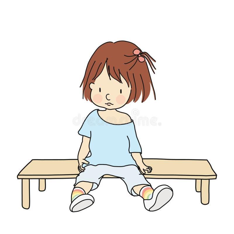 Vektorillustration av sammanträde för liten unge på bänk, lyftande benet upp och att vänta vektor illustrationer
