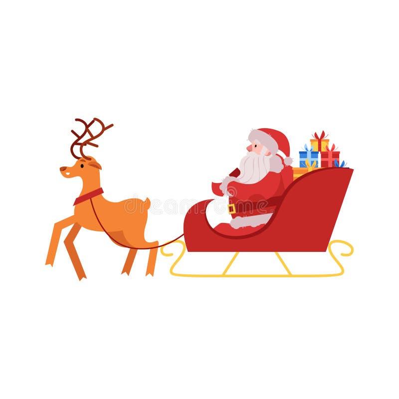 Vektorillustration av Santa Claus i röd dräkt och hatt med gåvaaskar som sitter i släden som dras av renen vektor illustrationer