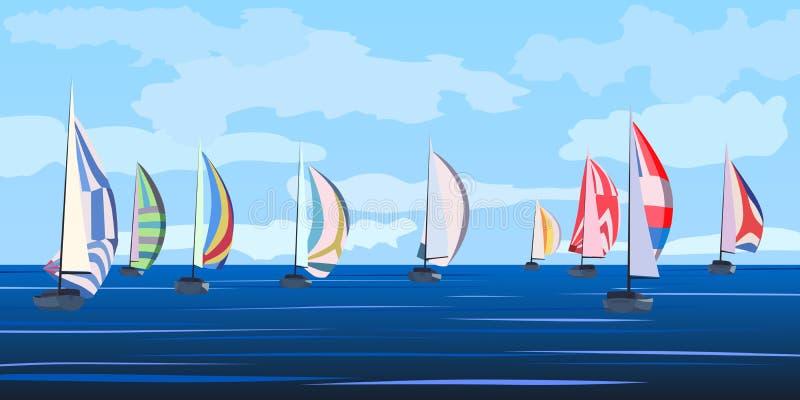 Vektorillustration av seglingyachtregatta. stock illustrationer