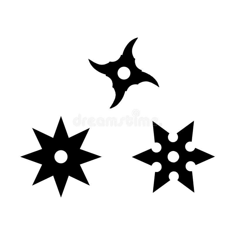 Vektorillustration av shurikens vektor illustrationer