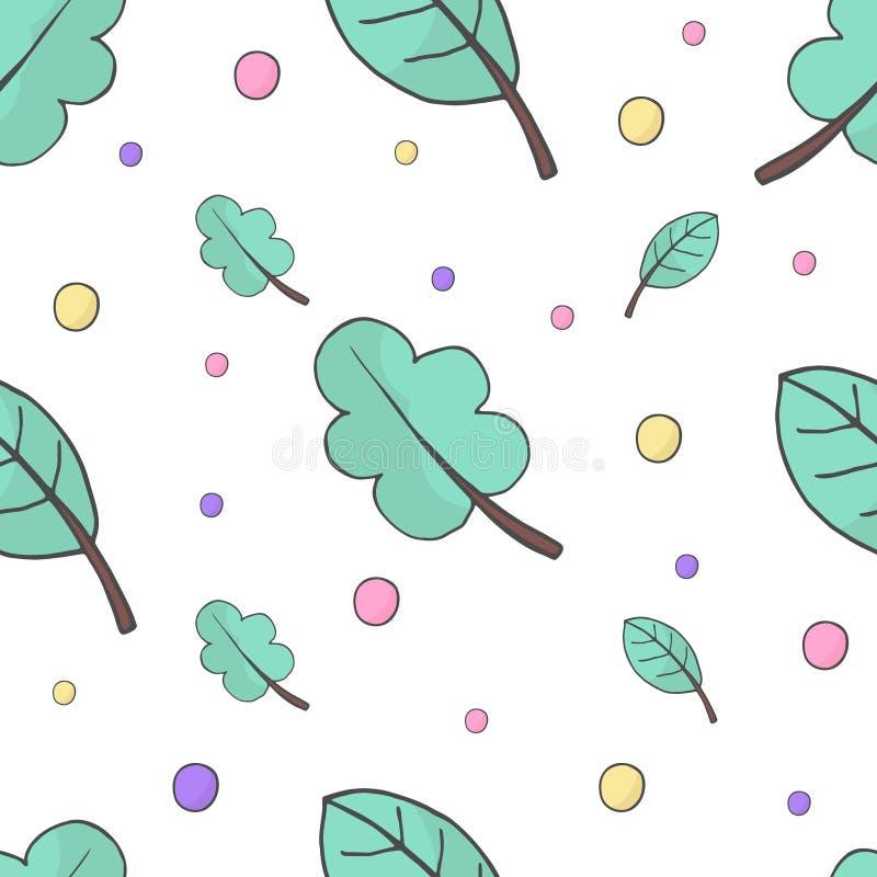 Vektorillustration av sidor och den sömlösa modellen för färgcirklar Blom- organisk bakgrund Hand dragen bladtextur royaltyfri illustrationer