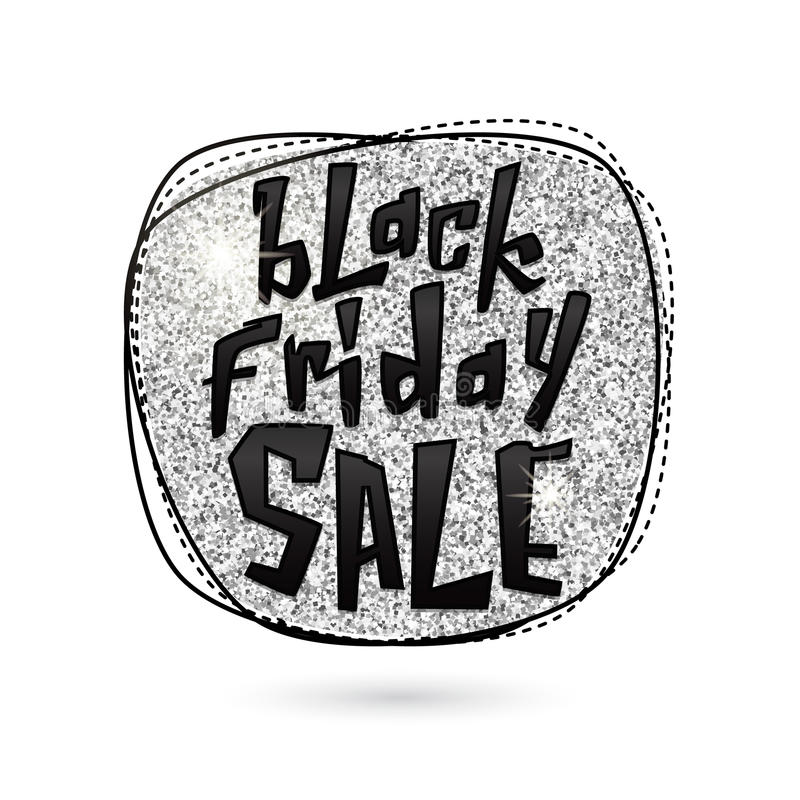 Vektorillustration av silver Black Friday Sale vektor illustrationer