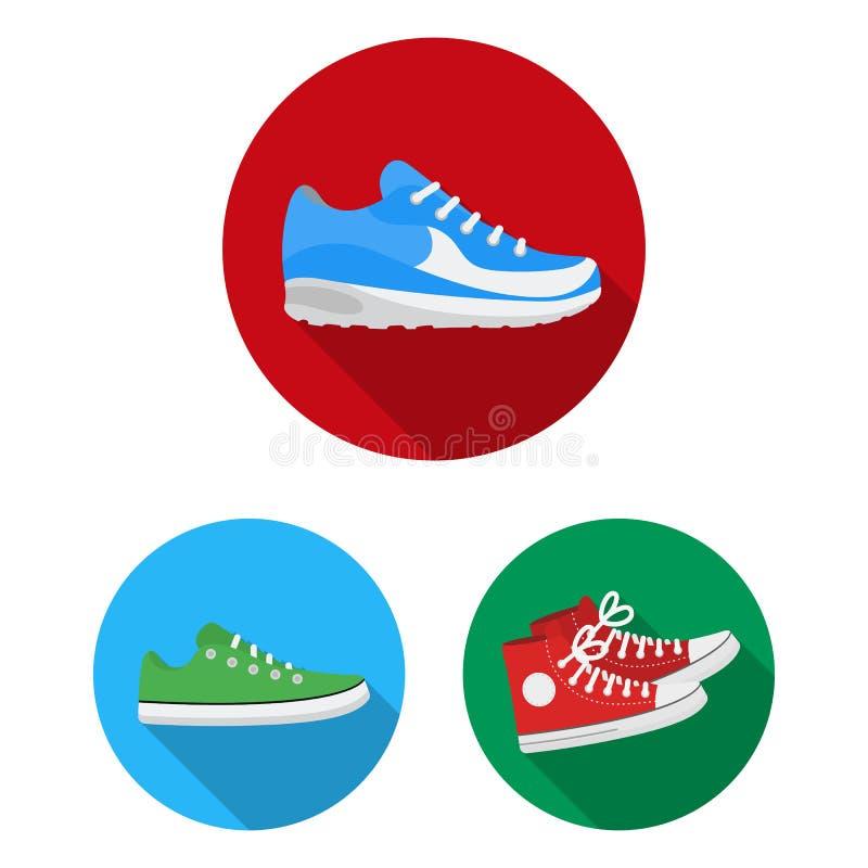 Vektorillustration av sko- och sportsymbolen Ställ in av skon och illustration för konditionmaterielvektor royaltyfri illustrationer
