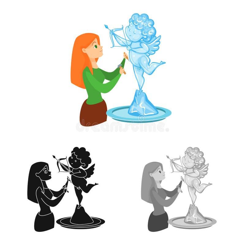 Vektorillustration av skulptur- och issymbolet Ställ in av skulptur- och ängelvektorsymbolen för materiel vektor illustrationer