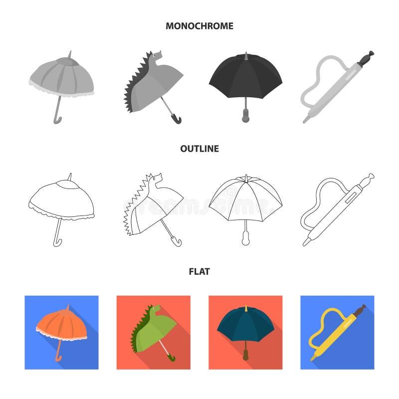 Vektorillustration av skydd och den stängda symbolen Ställ in av skydd och den regniga vektorsymbolen för materiel stock illustrationer