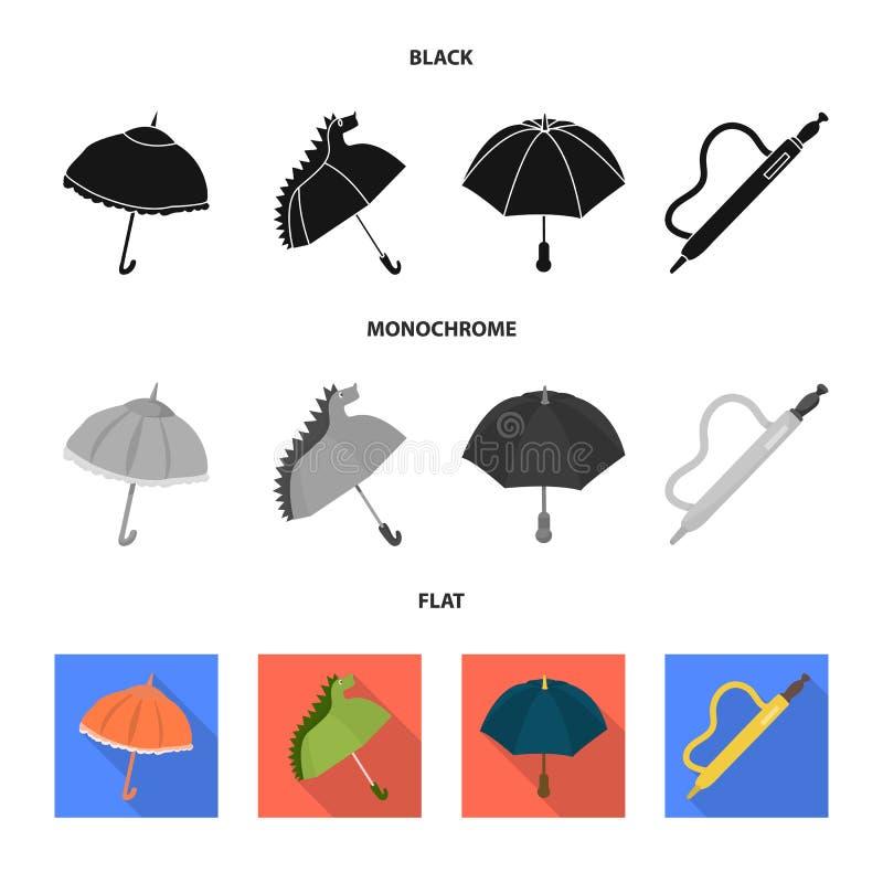 Vektorillustration av skydd och den stängda symbolen Ställ in av skydd och den regniga vektorsymbolen för materiel vektor illustrationer