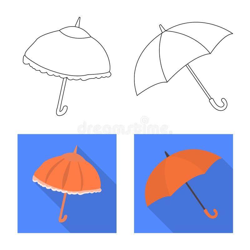 Vektorillustration av skydd och den st?ngda logoen Samlingen av skydd och regnigt lagerf?r vektorillustrationen royaltyfri illustrationer