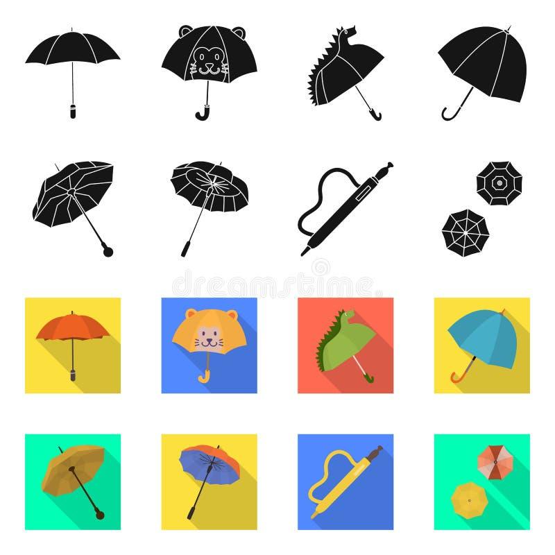 Vektorillustration av skydd och den st?ngda logoen Samlingen av skydd och regnigt lagerf?r vektorillustrationen vektor illustrationer