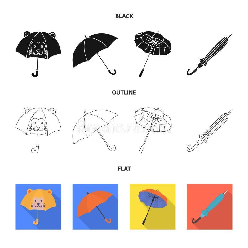Vektorillustration av skydd och det stängda symbolet Ställ in av skydd och den regniga vektorsymbolen för materiel vektor illustrationer