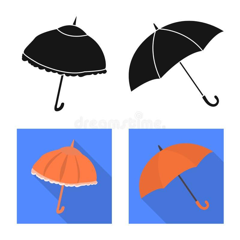 Vektorillustration av skydd och det st?ngda tecknet St?ll in av skydd och den regniga vektorsymbolen f?r materiel royaltyfri illustrationer