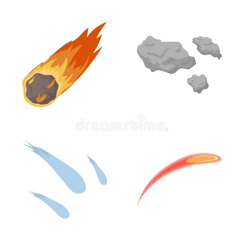 Vektorillustration av skytte- och brandsymbolet Uppsättning av illustrationen för skytte- och asteroidmaterielvektor vektor illustrationer