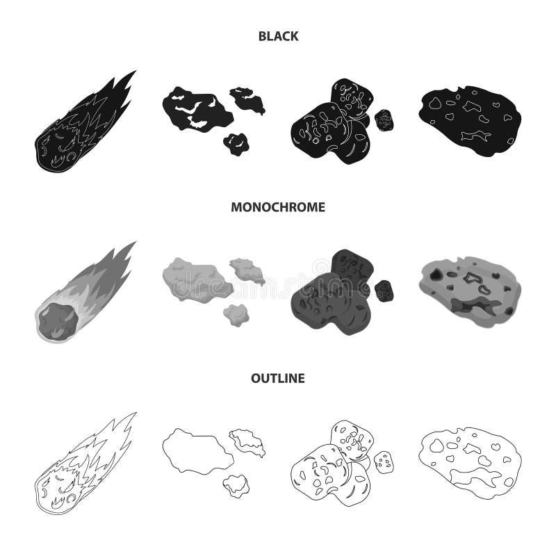 Vektorillustration av skytte- och brandsymbolet Upps?ttning av illustrationen f?r skytte- och asteroidmaterielvektor stock illustrationer