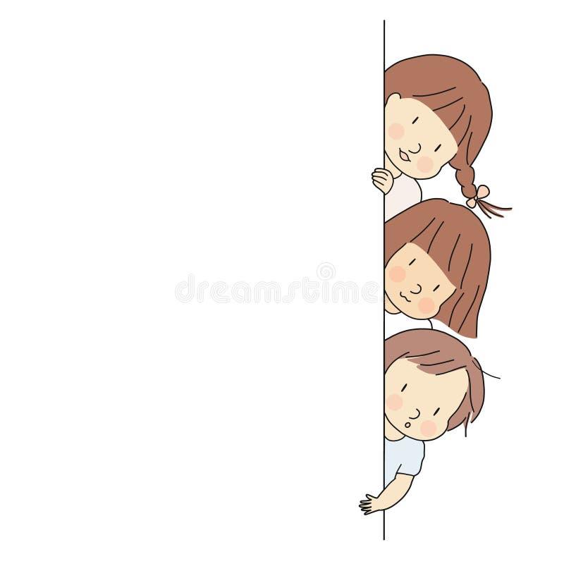Vektorillustration av små ungar, pojke och flickor som kikar ut bak väggen Kika en bu, tillbaka till skolan, det lyckliga barndag royaltyfri illustrationer