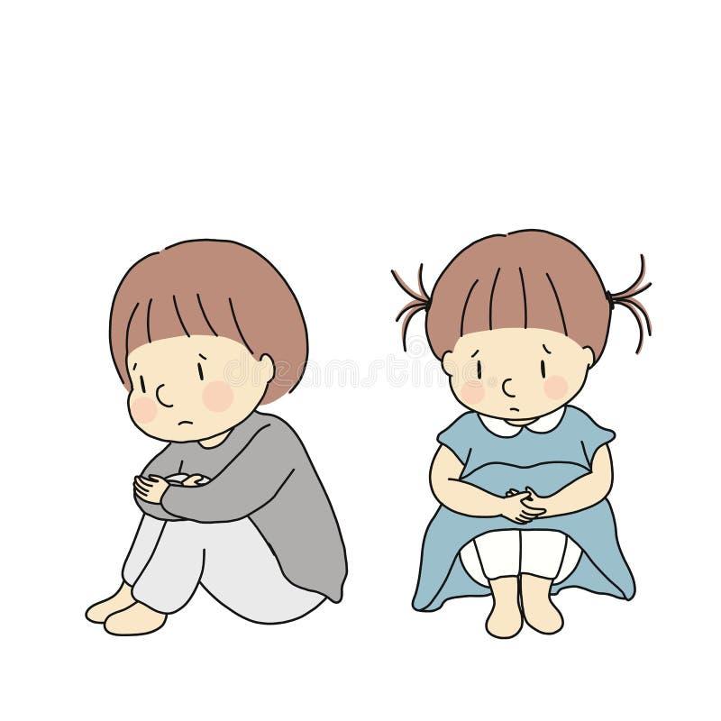 Vektorillustration av små ungar som kramar knä och att känna sig ledset och angeläget Teckning för tecken för tecknad film för be vektor illustrationer