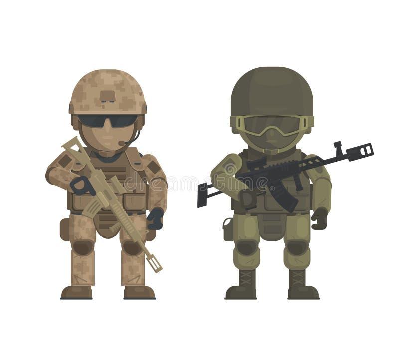 Vektorillustration av soldater på vit bakgrund vektor illustrationer