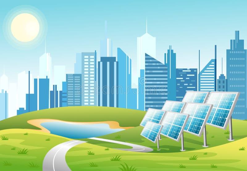 Vektorillustration av solenergipaneler med solen och stads- stadsskyskrapahorisont på grön turkosbakgrund eco vektor illustrationer