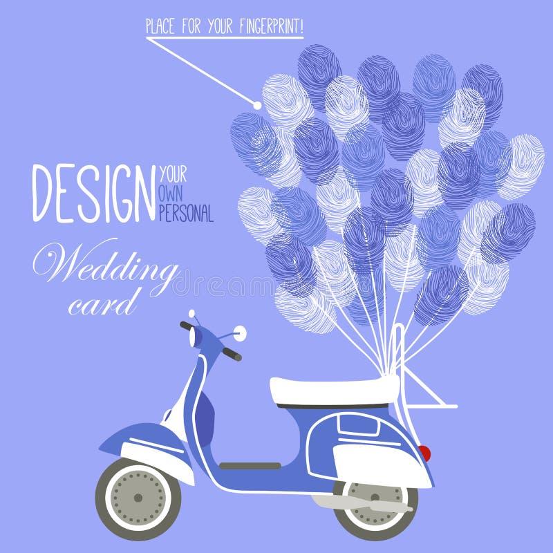 Vektorillustration av sparkcykeln och ballongen royaltyfri illustrationer