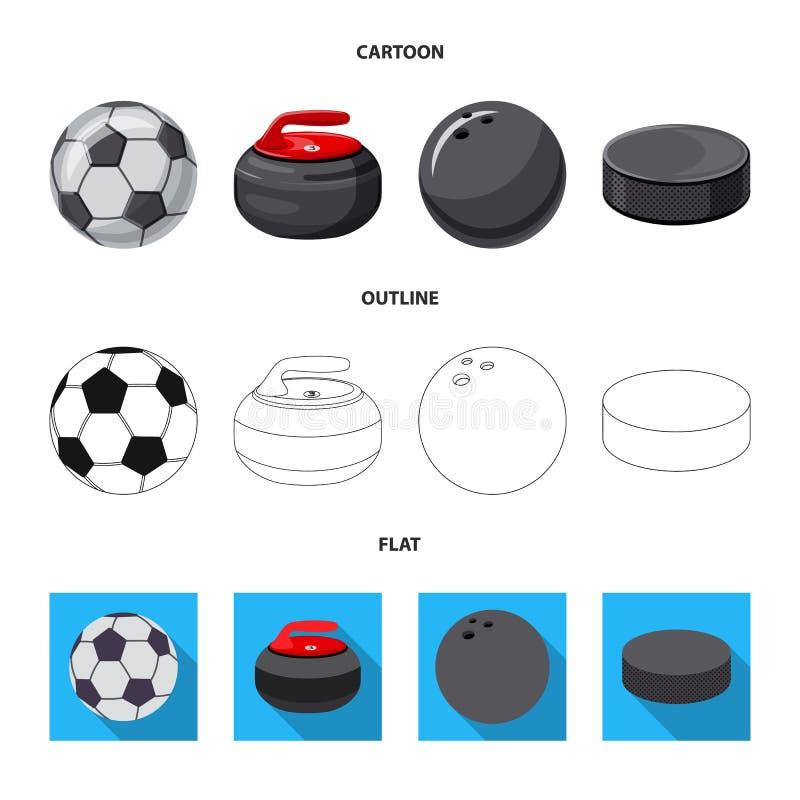 Vektorillustration av sport- och bolllogoen Uppsättning av sporten och det idrotts- materielsymbolet för rengöringsduk vektor illustrationer