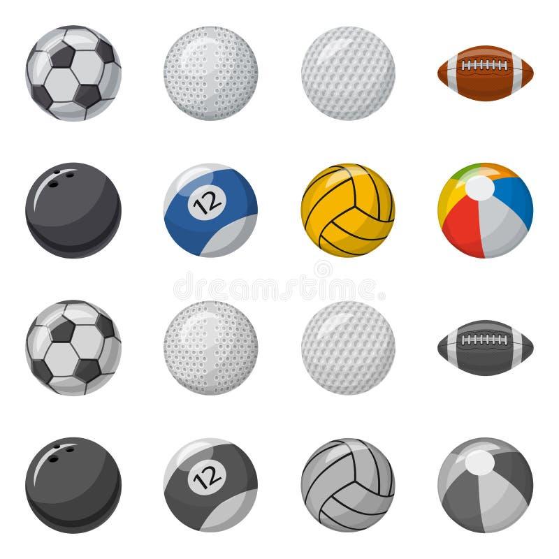 Vektorillustration av sport- och bollsymbolen Samling av sporten och idrotts- vektorsymbol f?r materiel vektor illustrationer