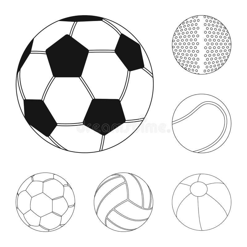 Vektorillustration av sport- och bollsymbolen Uppsättning av sporten och den idrotts- materielvektorillustrationen royaltyfri illustrationer