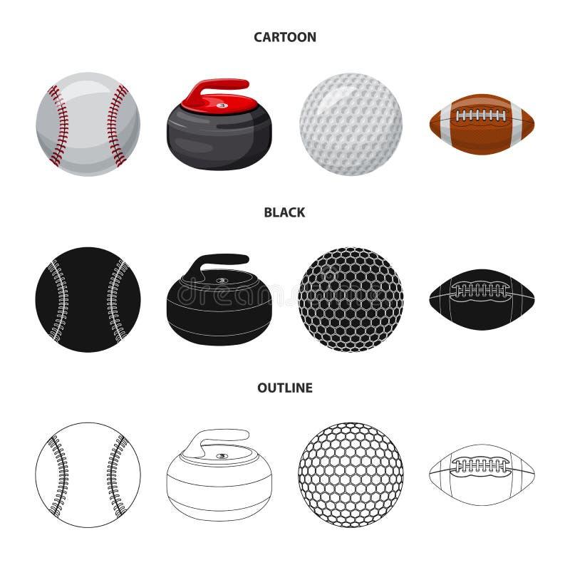 Vektorillustration av sport- och bolltecknet Samling av sporten och idrotts- vektorsymbol f?r materiel stock illustrationer