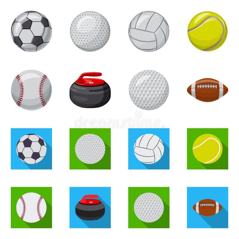 Vektorillustration av sport- och bolltecknet Upps?ttning av sporten och idrotts- vektorsymbol f?r materiel royaltyfri illustrationer