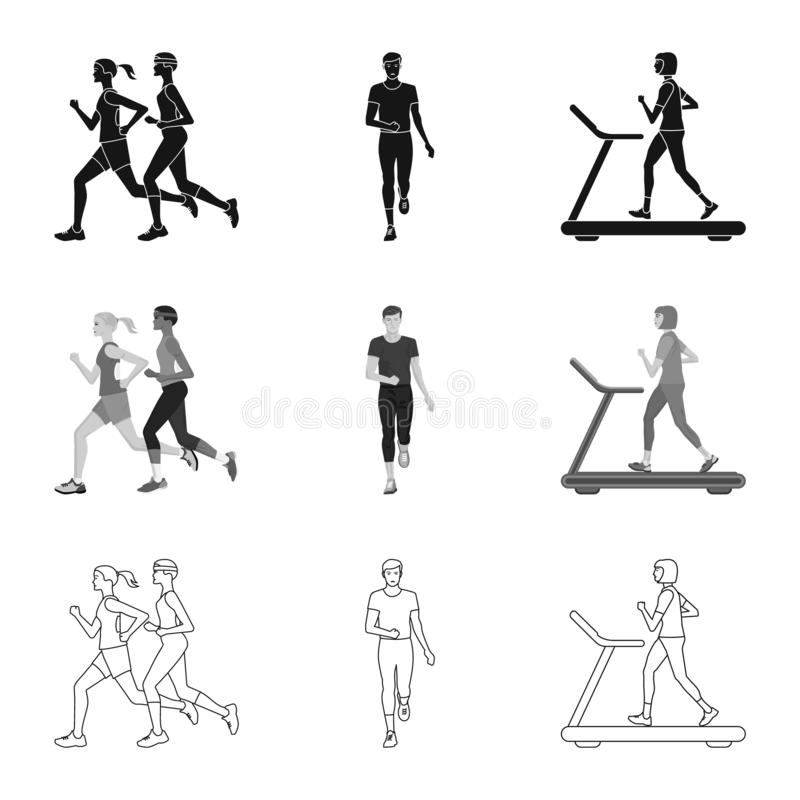 Vektorillustration av sport- och vinnaresymbolen St?ll in av illustration f?r sport- och konditionmaterielvektor stock illustrationer