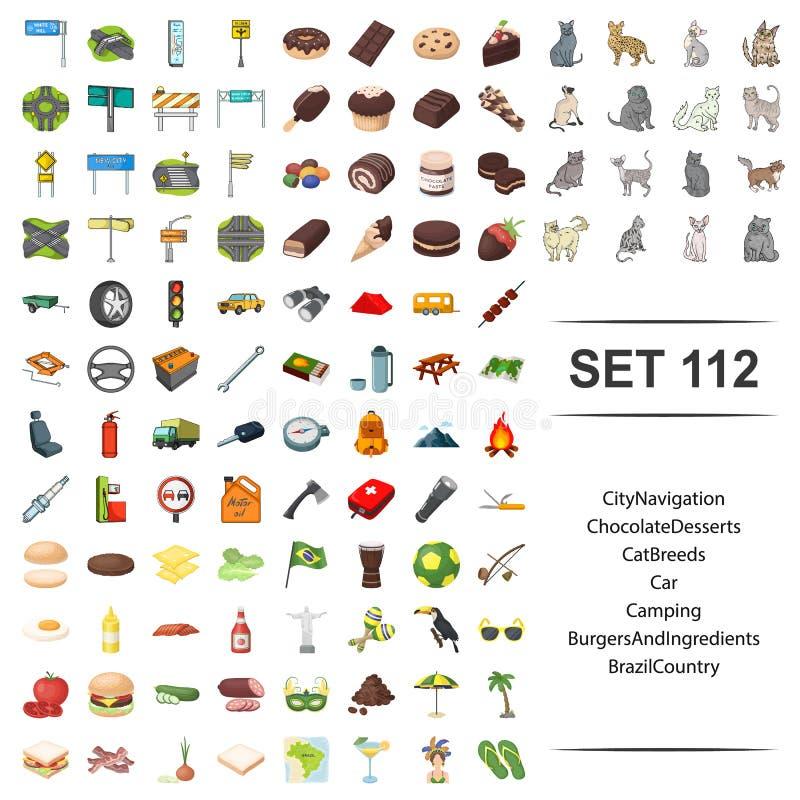 Vektorillustration av staden, navigering, choklad, efterrätt, katt, avel, för hamburgareingrediens för bil campa Brasilien land stock illustrationer