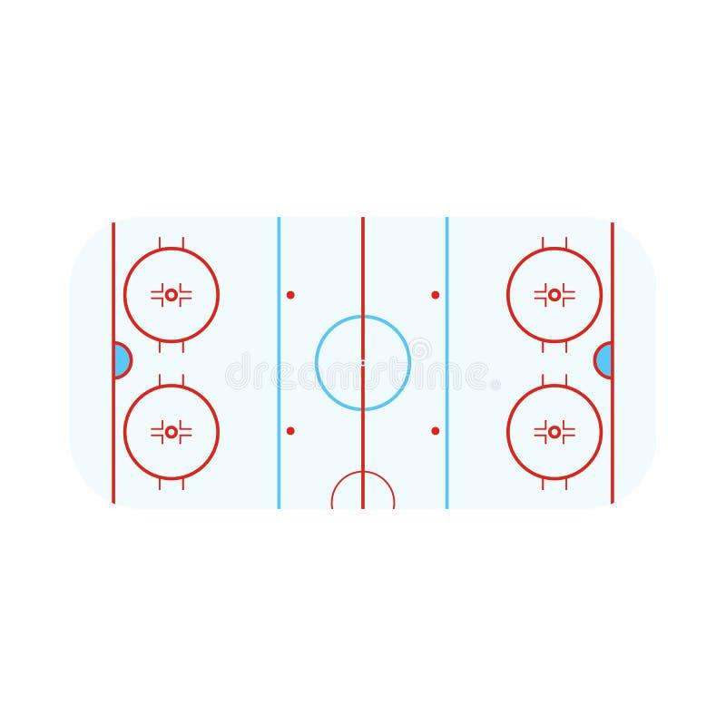 Vektorillustration av stadion- och hockeytecknet Samling av stadion- och isvektorsymbolen för materiel stock illustrationer
