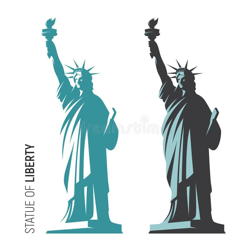 Vektorillustration av statyn av frihet i New York City S vektor illustrationer