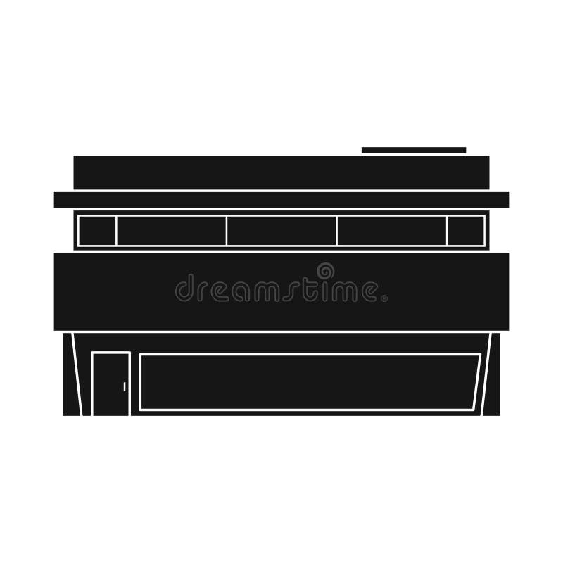Vektorillustration av stormarknaden och att shoppa logo Ställ in av stormarknad- och fasadmaterielsymbolet för rengöringsduk stock illustrationer
