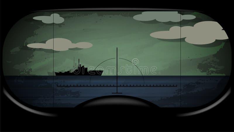 Vektorillustration av stridubåtperiskopen stock illustrationer