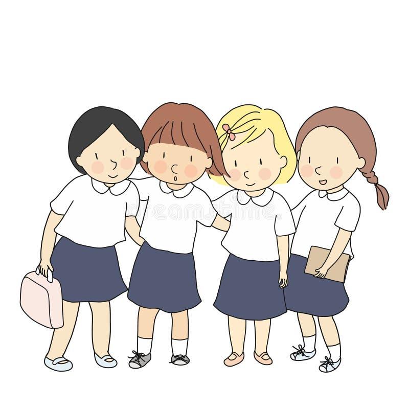 Vektorillustration av studenter i skolalikformign som tillsammans står Utveckling för tidig barndom, tillbaka till skolan royaltyfri illustrationer