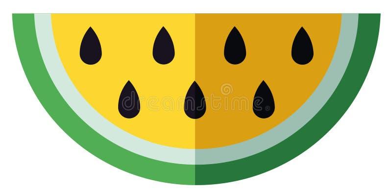 Vektorillustration av stycket av den gula vattenmelon arkivfoto