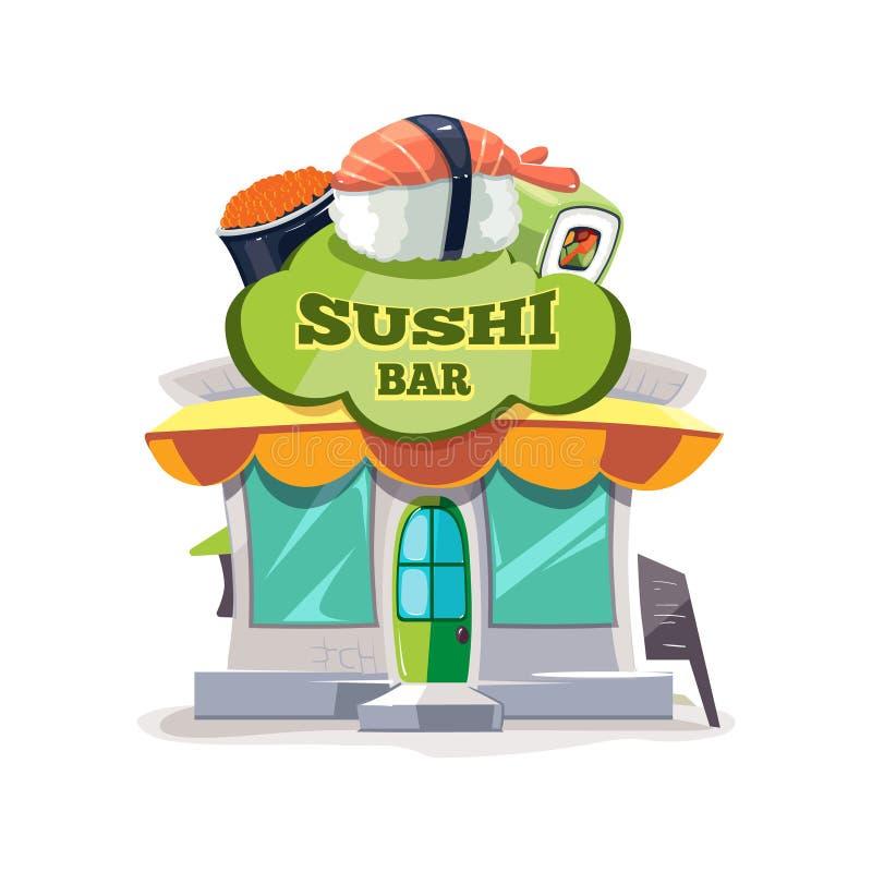 Vektorillustration av sushistången eller fasaden för kinesrestaurangbyggnad stock illustrationer