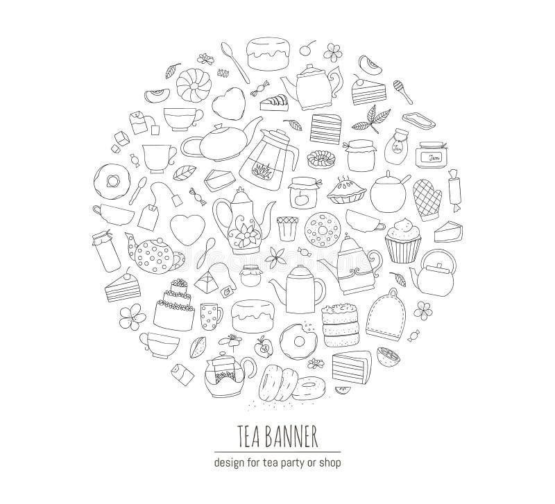 Vektorillustration av svartvita tekannor, pajer, sötsaker, kakor som inramas i cirkel Linje konstteservis Themed begrepp för te R royaltyfri illustrationer