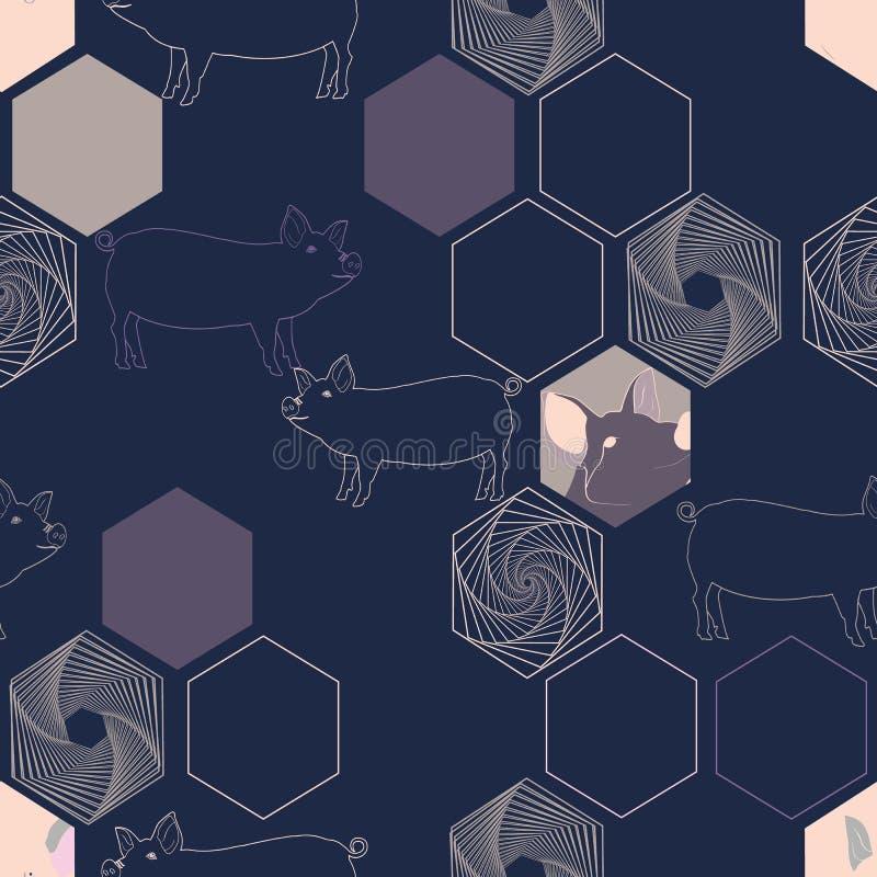 Vektorillustration av svin som kombineras med sexhörningsbeståndsdelar stock illustrationer