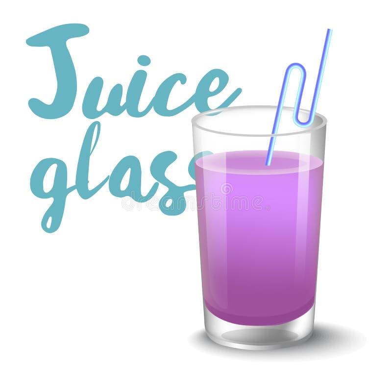Vektorillustration av symbolen av drinken med frukt Realistisk blåbärfruktsaft i exponeringsglas på vit bakgrund vektor illustrationer