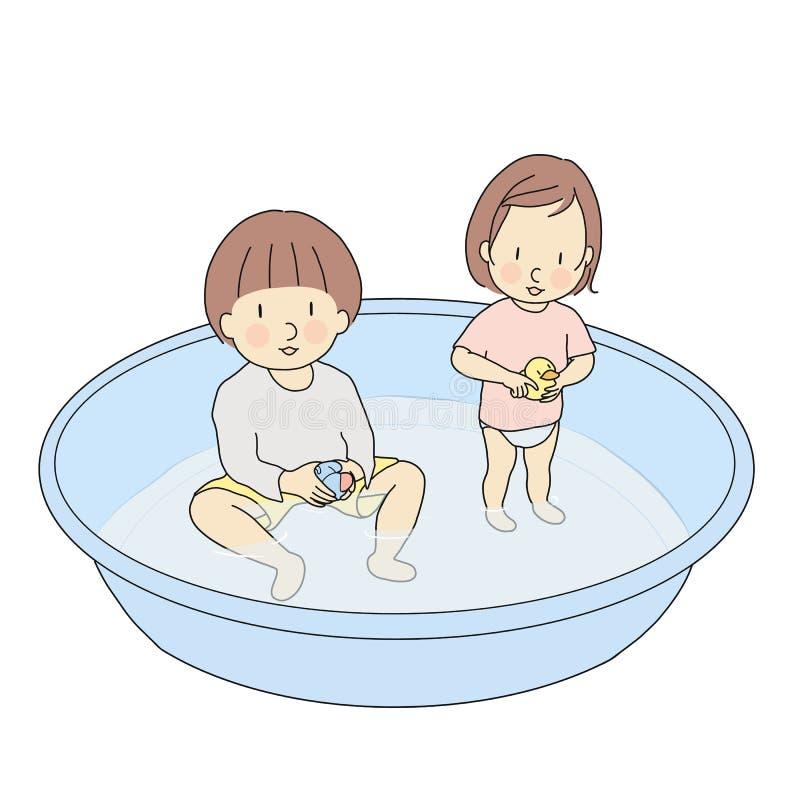 Vektorillustration av syskongruppen som spelar i uppblåsbar simbassäng Utvecklingsaktivitet för tidig barndom, spela för barn royaltyfri illustrationer