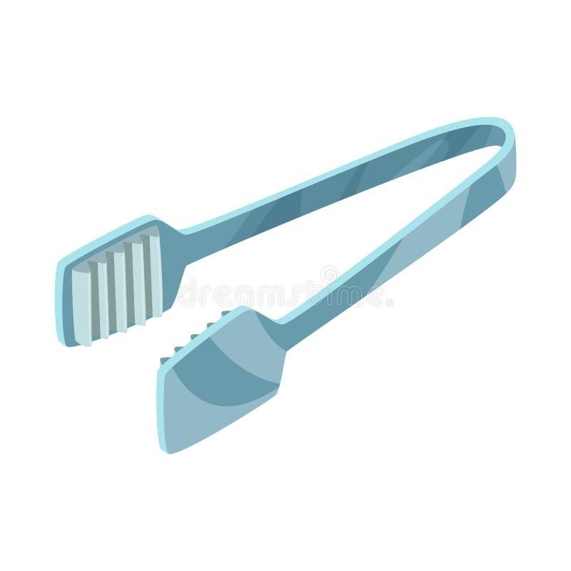 Vektorillustration av tång och dishwaresymbolet Ställ in av tång, och kafét lagerför symbolet för rengöringsduk vektor illustrationer